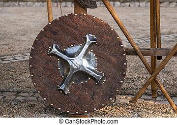 középkori, pajzs, kerek