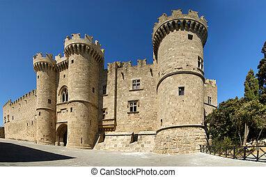 középkori, (palace), rodosz, körképszerű, görögország, ...