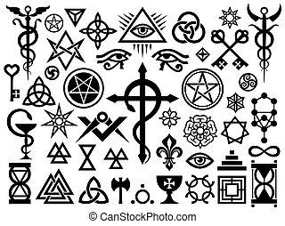 középkori, rejtett, cégtábla, és, varázslatos, topog
