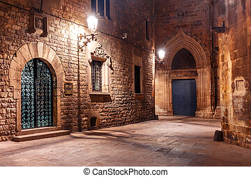középkori, utca, alatt, barri, gót, negyed, barcelona