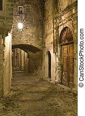 középkori, város, közül, rodosz, alatt, görögország