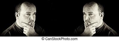 középső érlel, ember, kifejezés, fekete