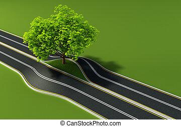 középső, fa, út
