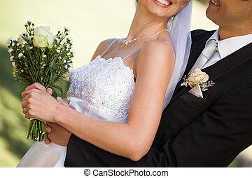 középső gerezd, közül, boldog, newlywed, párosít, dísztér