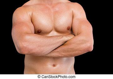 középső gerezd, közül, shirtless, erős, ember, noha, fegyver kereszteződnek