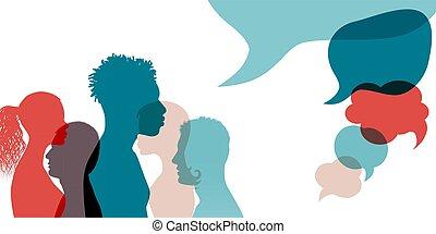 közöl, communication., gondolat, networks.multiethnic, emberek, rész, arcél, értesülés, communicating., bubble., közösség, arc, gazdag koncentrátum, beszéd, beszéd, árnykép, nemzetközi, társadalmi
