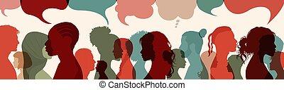 közöl, társadalmi, communication., talking.diversity, ...