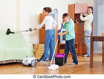 közönséges, család, közül, három, noha, tizenéves, cselekedet, házimunka