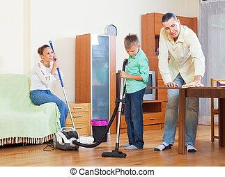 közönséges, takarítás, együtt, család