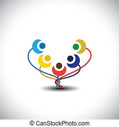 közösség, gyerekek, boldog, is, móka, -, grafikus, emberek, ...
