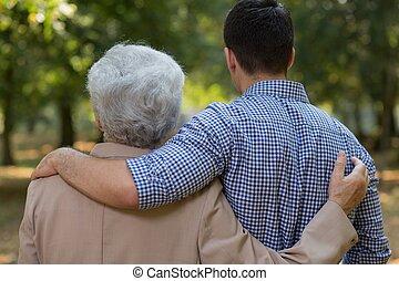 között, kapcsolat, fiúunoka, nagyapa