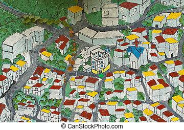 közútak, térkép, festmény, templom