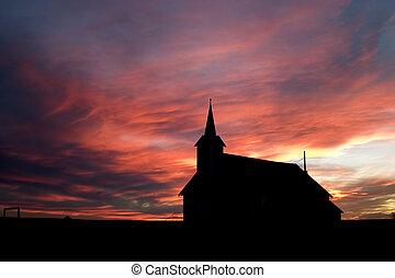 közben, napnyugta, templom