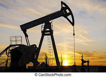 közben, oilfield, napnyugta