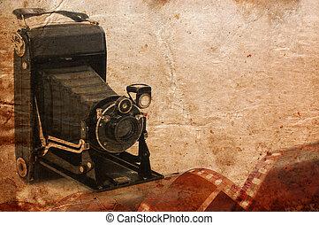 közeg format, retro, fényképezőgép, szüret, háttér