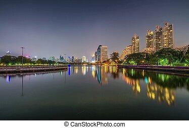 közeli, benjakitti, liget, tó, bangkok, ratchada, helyezkedő