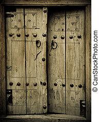 közelkép, ősi, kép, ajtók