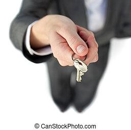 közelkép, birtok, üzletasszony, kulcs