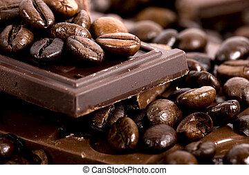 közelkép, chocolate-coffee, bab, background:
