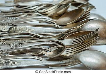 közelkép, ezüst, evőeszköz