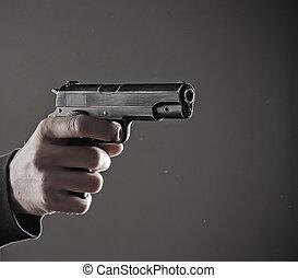 közelkép, gyilkos, pisztoly