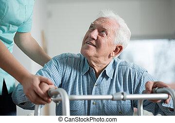 közelkép, idős, ember