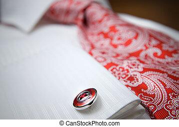 közelkép, ing, fénykép, díszgomb, csomó, white piros
