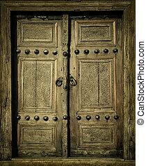 közelkép, kép, közül, ősi, ajtók