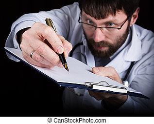 közelkép, kézbesít, közül, egy, orvosi doktor, orvos, cégtábla, egy, fogantyú, documents., orvos, írja, orvosi, history., ír, egy, recept, türelmes, adatok, történelem