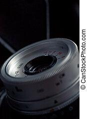 közelkép, közül, öreg, fényképezőgép