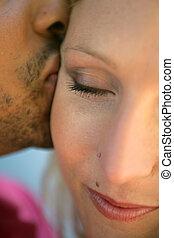 közelkép, közül, összekapcsol megcsókol