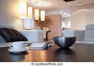 közelkép, közül, asztal, alatt, nappali