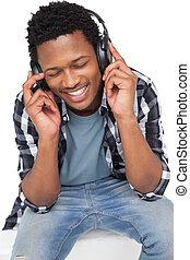 közelkép, közül, egy, fiatalember, élvez, zene
