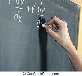 közelkép, közül, egy, stunden's, kéz, kibogoz, matek, probléma