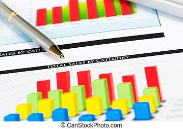 közelkép, közül, megír and, anyagi növekedés, táblázatok
