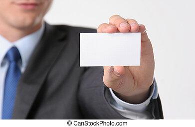 közelkép, közül, névjegykártya, alatt, bábu, kéz