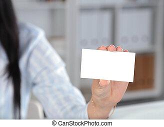 közelkép, közül, névjegykártya, alatt, nők, kéz