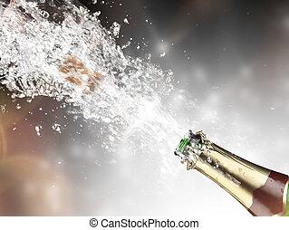 közelkép, közül, pezsgő, felrobbanás