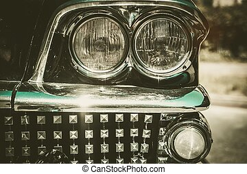 közelkép, króm, autó, ikrakeltető készülék, cégtábla, retro