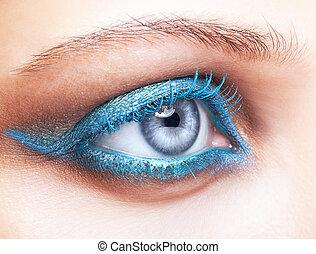 közelkép, lövés, közül, női szem, kék, konfekcionőr