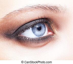 közelkép, lövés, közül, női szem, konfekcionőr