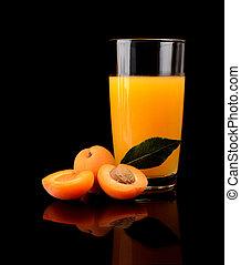 közelkép, lövés, sárgabarack, szelet, lé, narancs, levél növényen