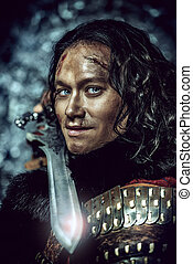 közelkép, portré, közül, a, ősi, hím, harcos, alatt, felfegyverez, birtok, sword., történelmi, character., fantasy.