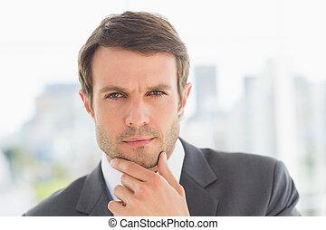közelkép, portré, közül, egy, jelentékeny, fiatal, üzletember