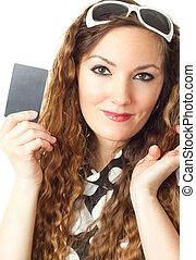közelkép, portré, közül, fiatal, bevásárlás, woman hatalom, hitelkártya, elszigetelt, white, háttér