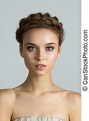 közelkép, portré, közül, fiatal, gyönyörű woman, noha, teljes, egészséges, bőr