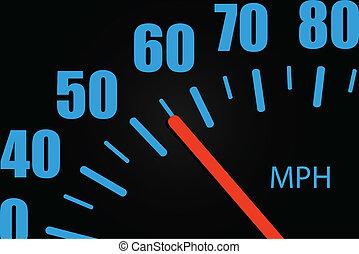közelkép, sebességmérő