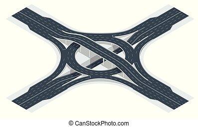 közlekedési csomópont, isometric, csomópont, ábra, vektor, út, overpass., autóút