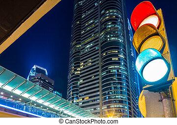 közlekedési lámpa, alatt, modern, város