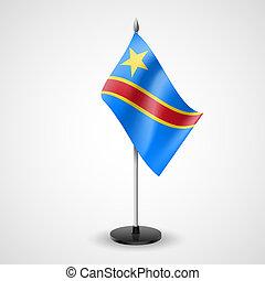 köztársaság, demokratikus, kongó, asztal, lobogó
